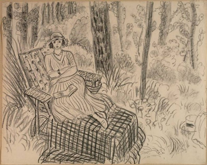 Henri Matisse, The Picnic 1922, Cont� crayon on paper